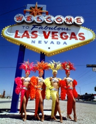 Las Vegas Sign with Showgirls