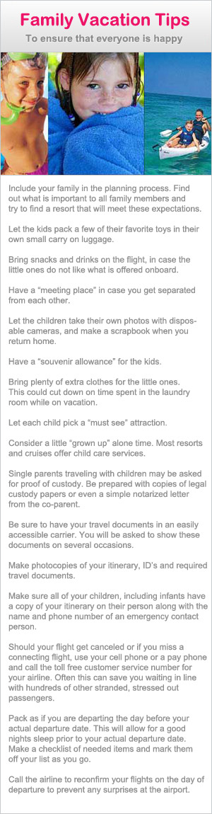 Great tips for family vacations